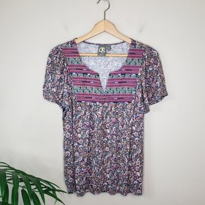 Anthropologie One September | Mixed Print Top